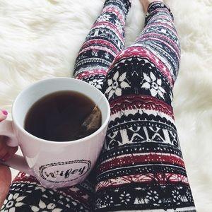 Pants - OS Christmas Fleece Lined Leggings